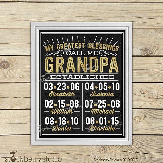 Grandpa Father's Day - Grandchildren Wall Art - Papa Gifts ...