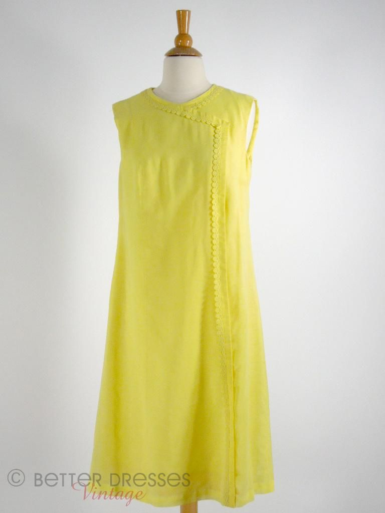 S yellow shift dress med woven fabric s and darts