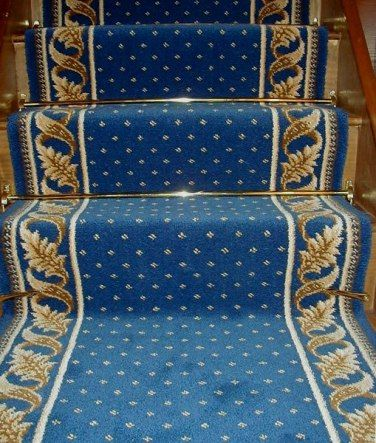 Best Pindot Stair Runner With Acanthus Leaves Borders Blue And 400 x 300