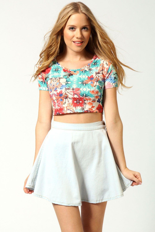 crop top floral con faldas - Buscar con Google | vestidos
