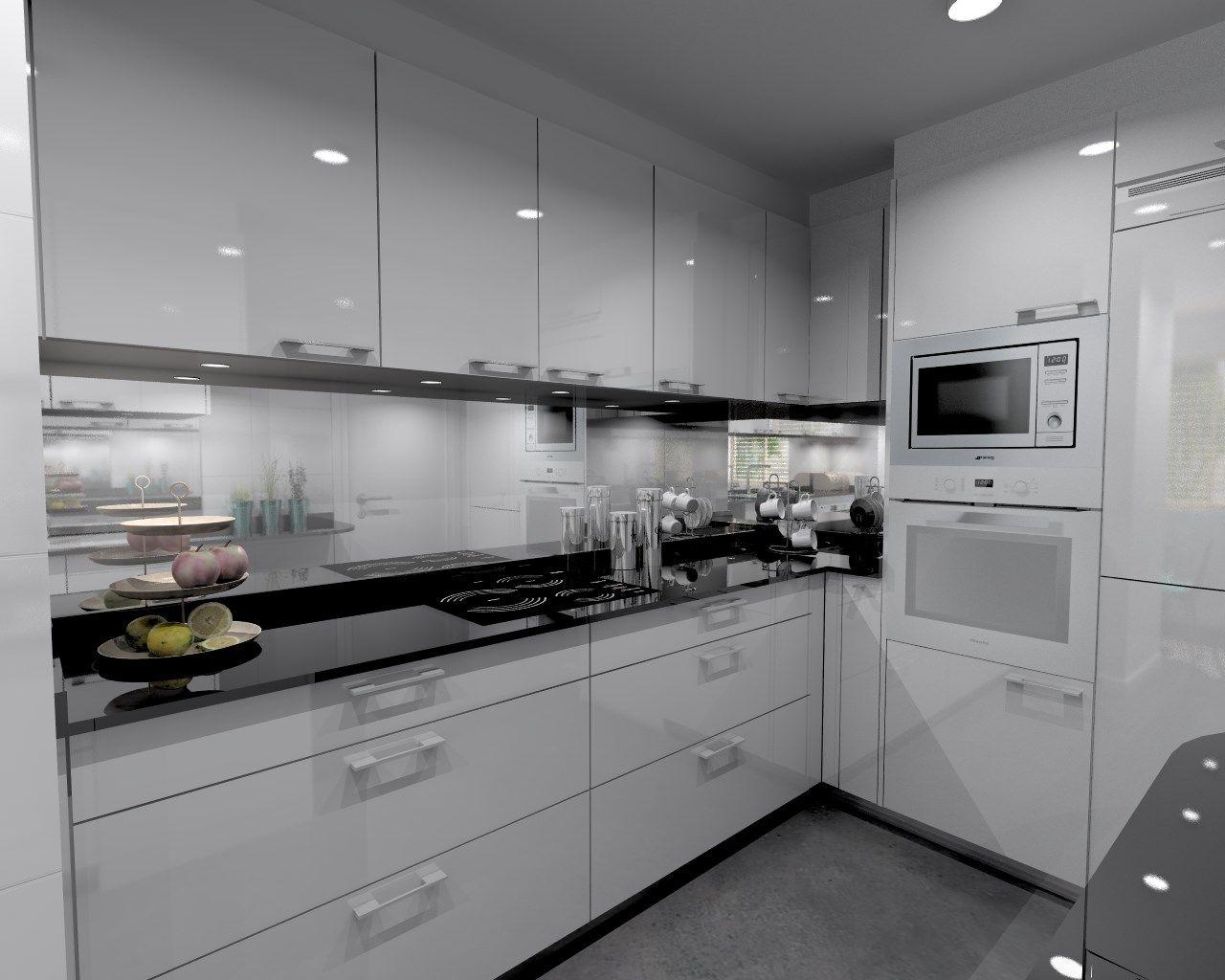 Cocina santos modelo plano laminado blanco brillo con encimera granito sahara nights