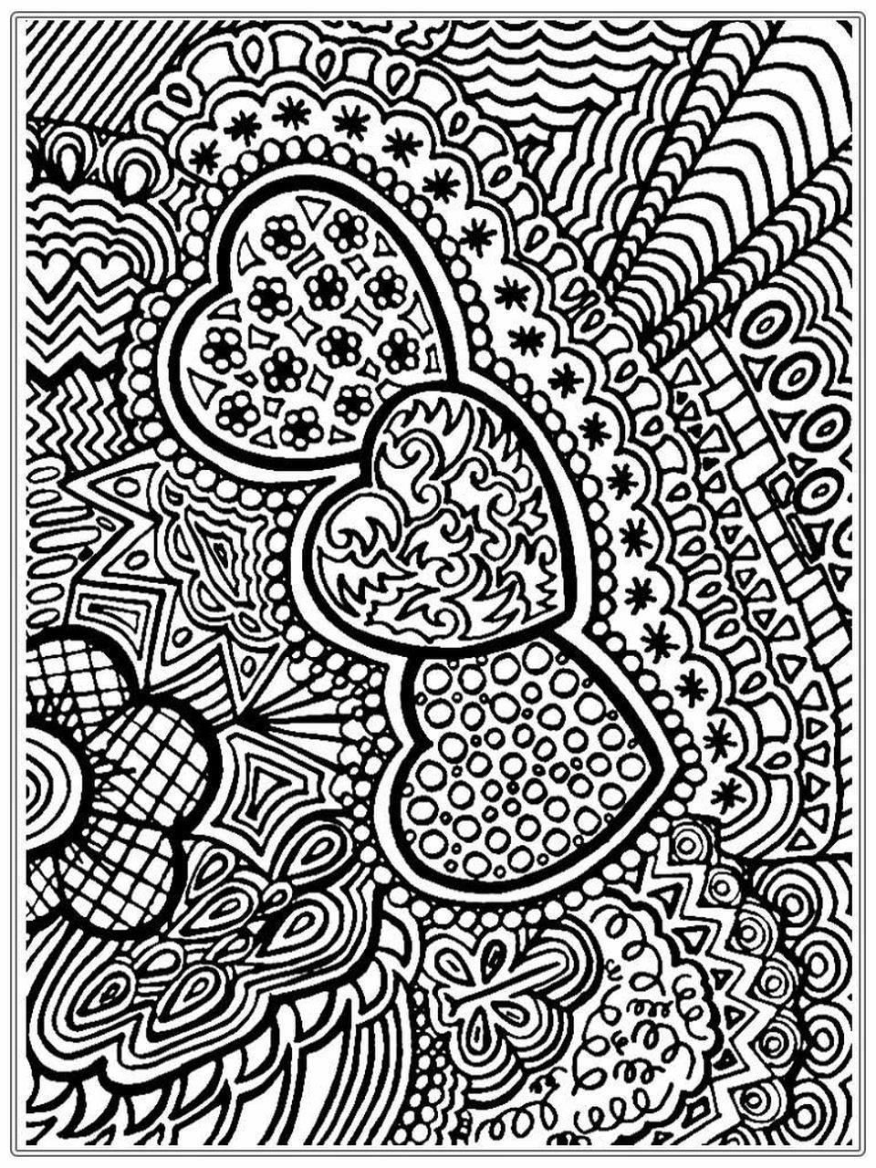 hard adult abstract coloring pages of heart pattern | Abstract ...