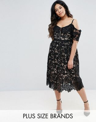 ed59a01a5df7e New Look Curve Cutwork Lace Cold Shoulder Midi Dress