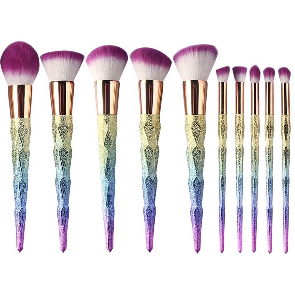 10 Piece Unicorn Rainbow Makeup Brush Set Pincéis de