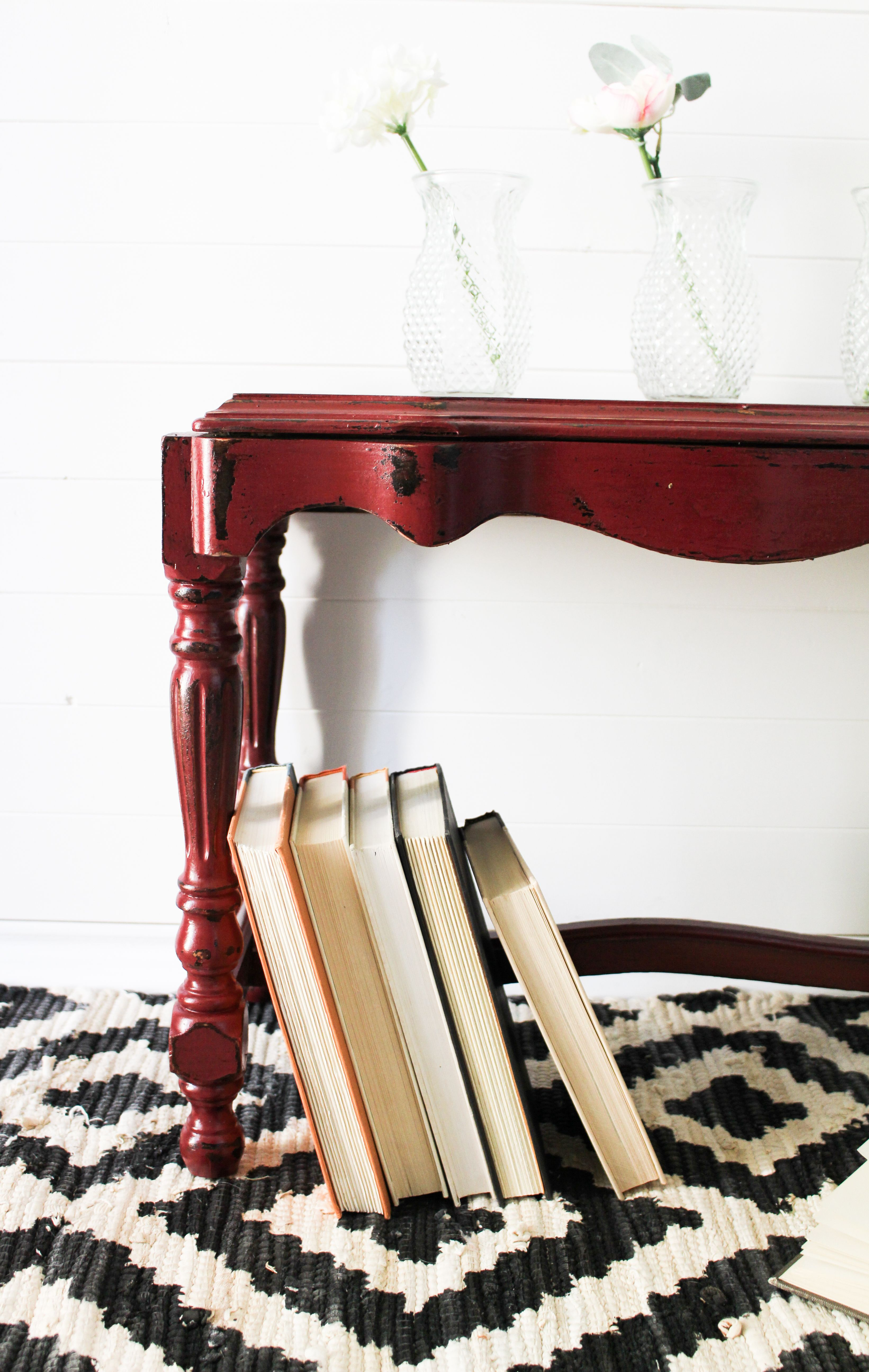 A Victorian Bench in Cranberry Furniture painting