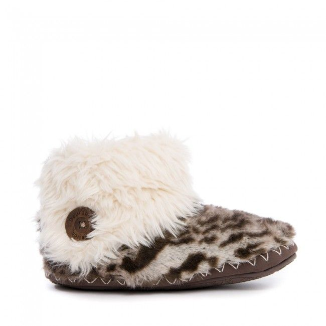 Womens/Ladies Animal Design Faux Fur Slipper Boots