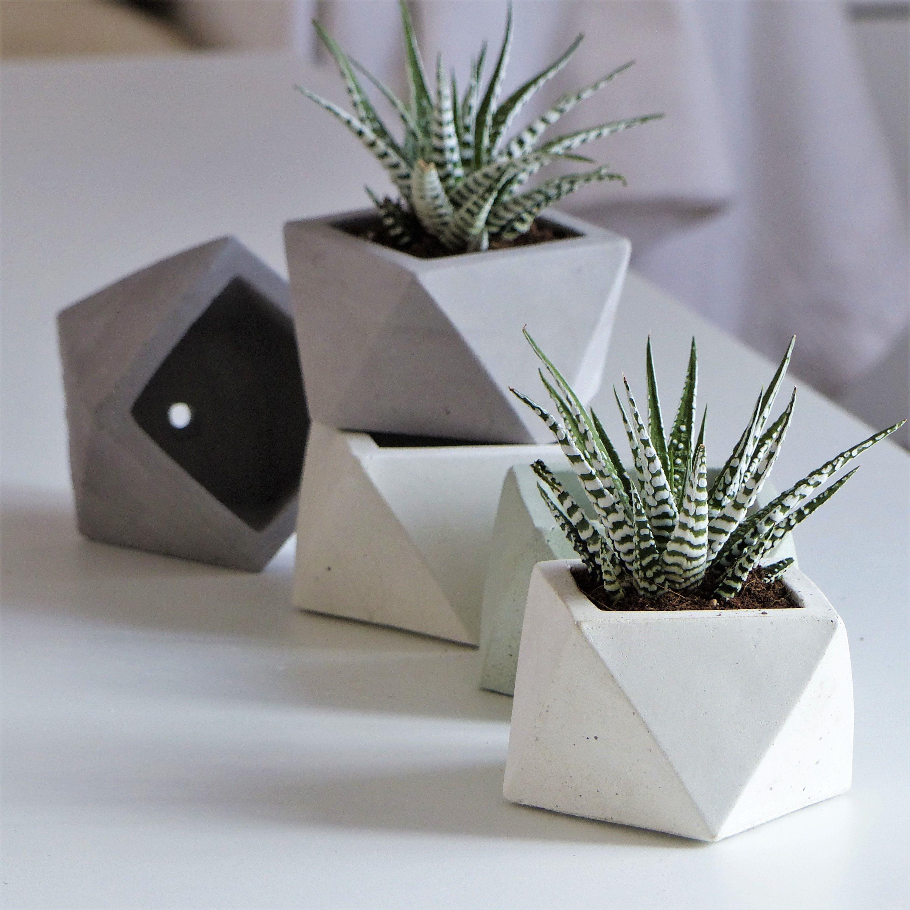 Pot De Fleur Icosaedre En Beton Blanc Avec Trou De Drainage Et