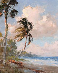 A Highwaymen Painting By A E Backus Windblown Palms Florida