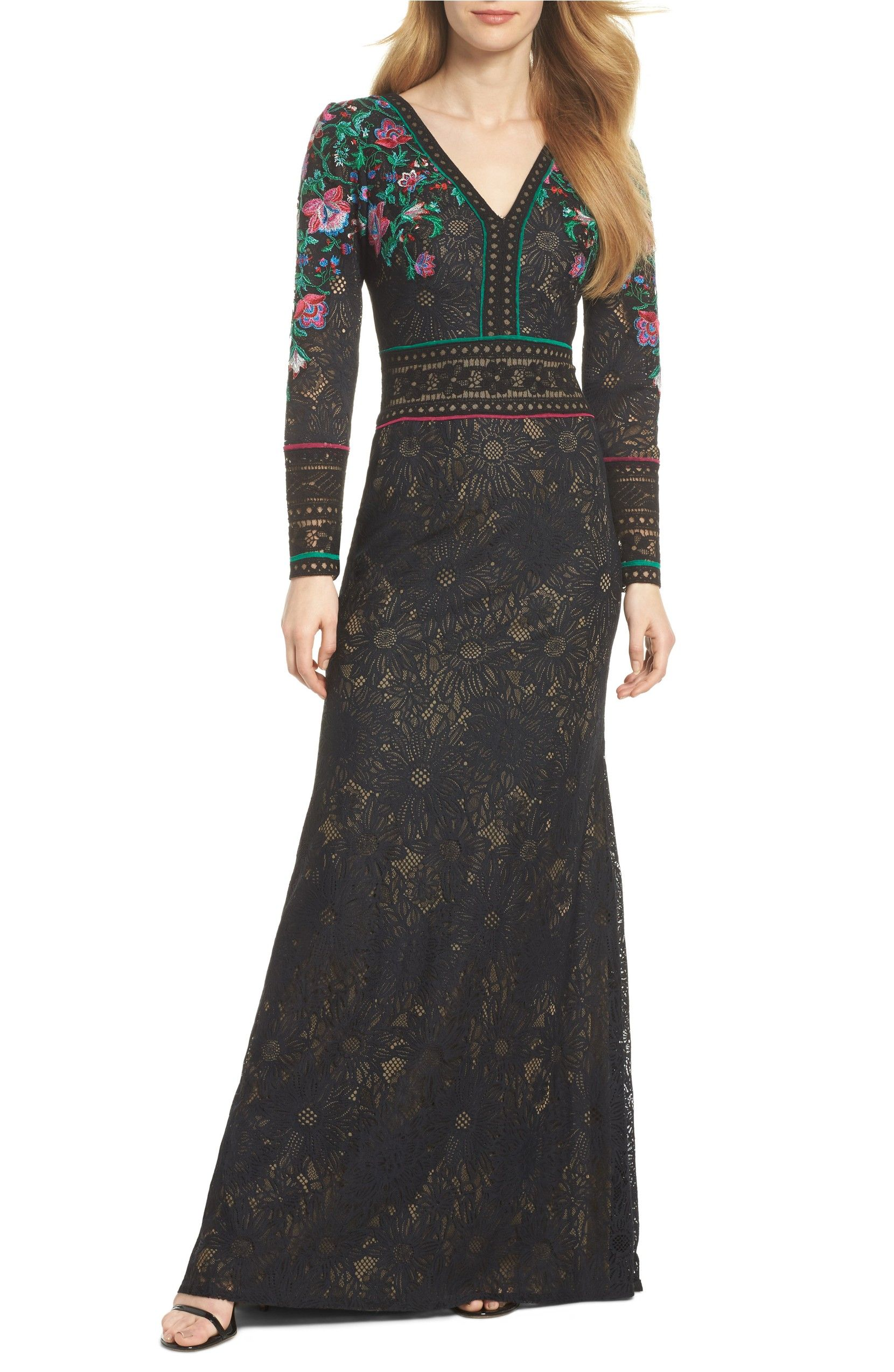 Embroidered lace aline gown main color black dahlia fashion