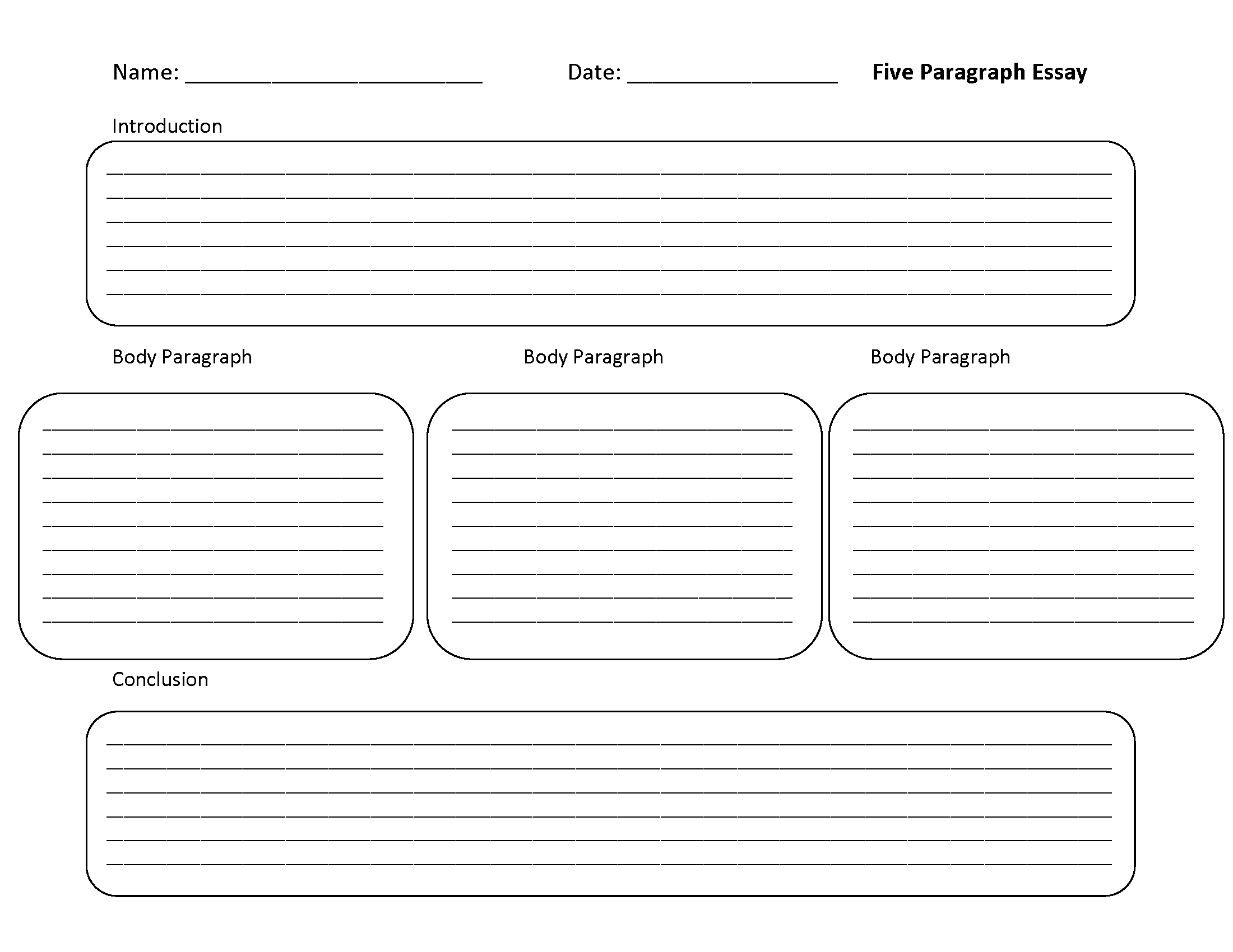 Five Paragraph Template Worksheet