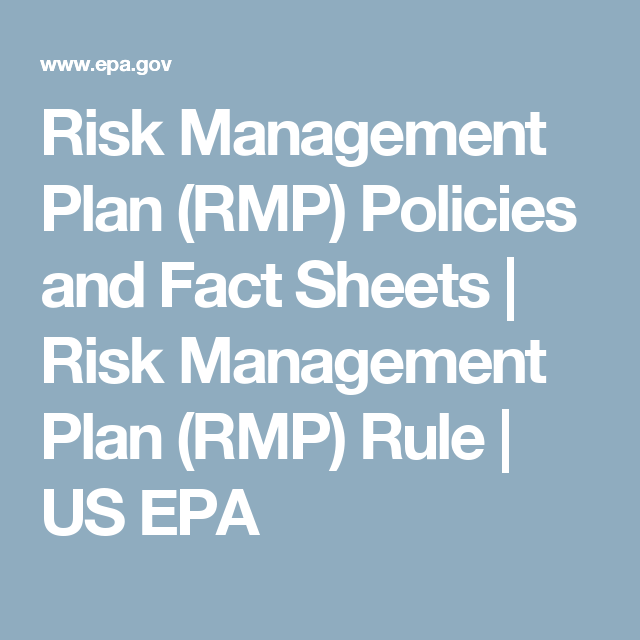 Risk Management Plan Rmp Policies And Fact Sheets  Risk