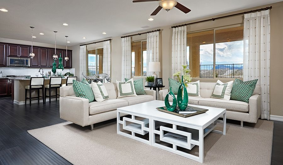 NEV-Belle-Greatroom (green) (Skyline Ridge) | Arlington Heights | Richmond American Homes | Las Vegas, NV | Final homesites just released! Nestled amidst established homes, this exclusive new gated Las Vegas community offers inspired floor plans with abundant personalization options. Residents of Arlington Heights, which features only 38 homesites, will enjoy easy access to Blue Diamond Road, dining, shopping and popular area attractions. Across the nation and in Las Vegas, we're one of…