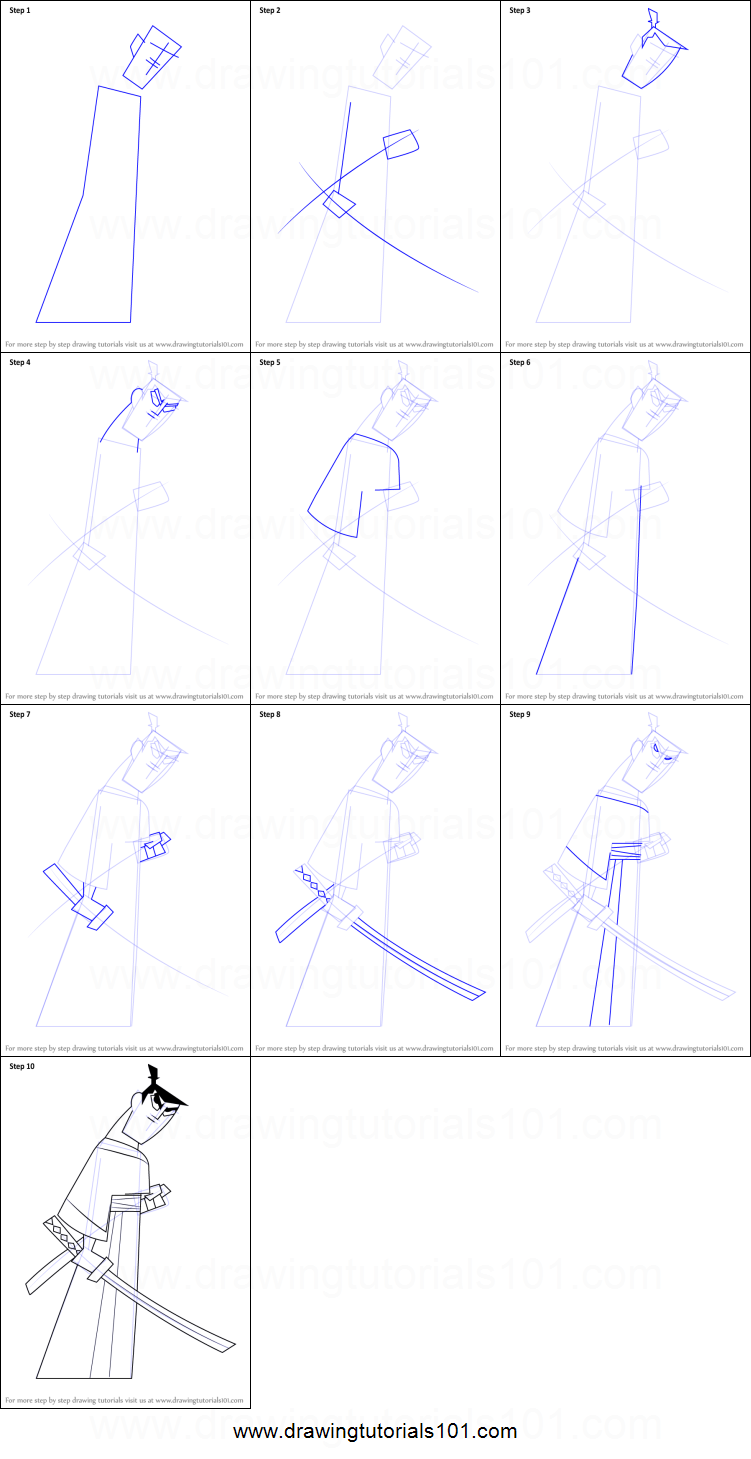 how to draw samurai jack printable step by step drawing sheet drawingtutorials101 com [ 751 x 1459 Pixel ]