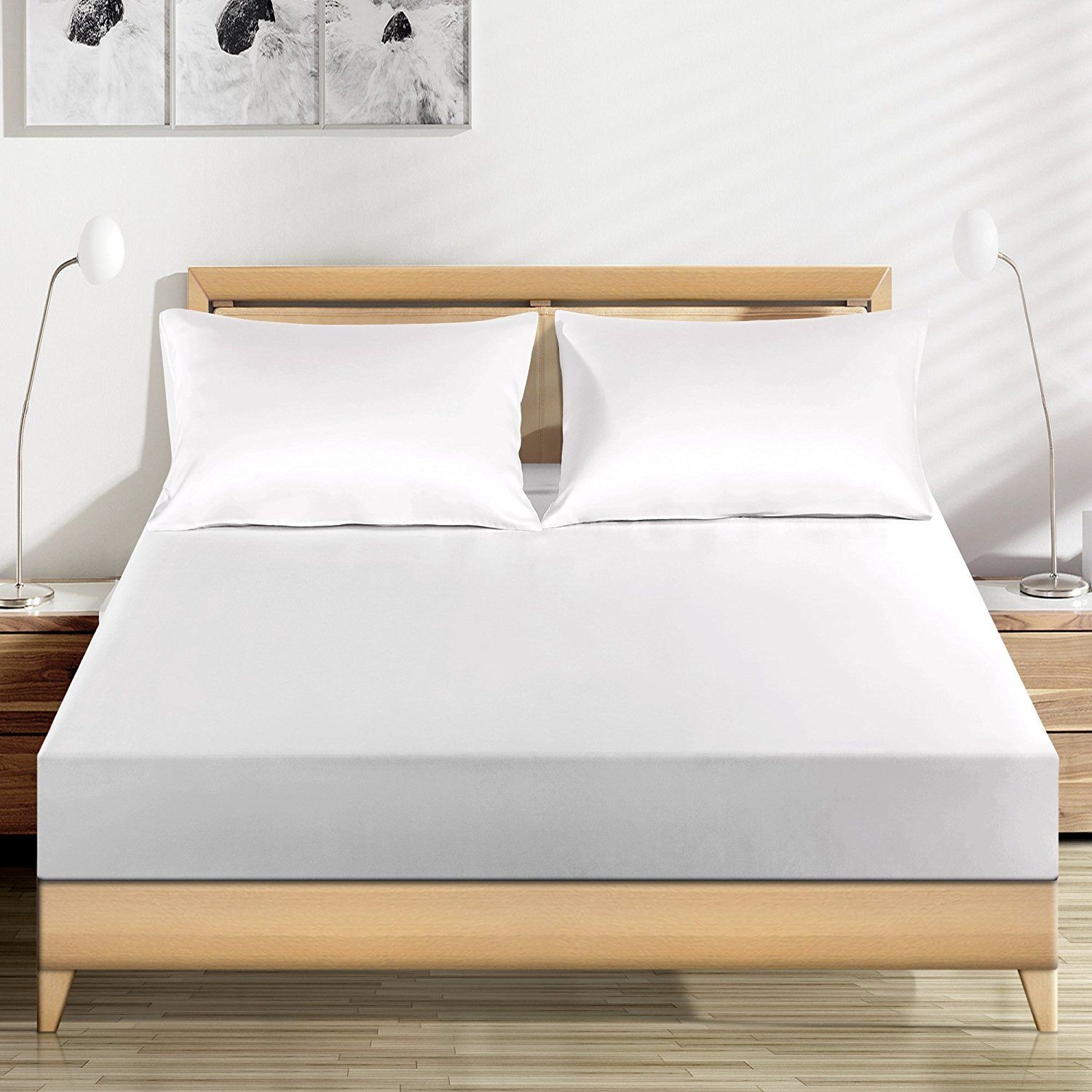 LUXUER Silk Fitted Sheet/ Mattress Cover/Protector 1PC