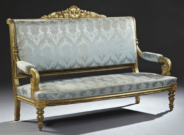 French Louis XVI Style Carved Giltwood Canape, 20th c., : Lot 186