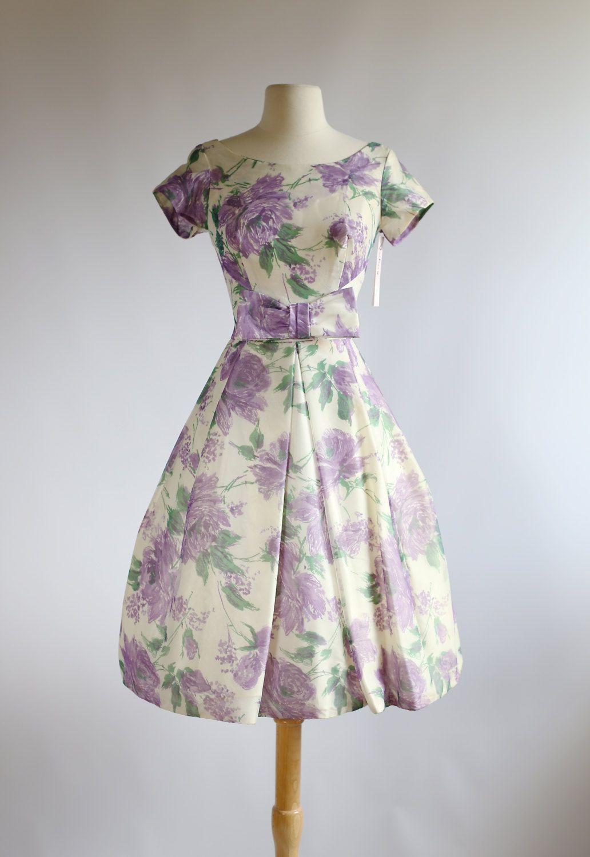 Vintage 50s Party Dress ~ 1950s Purple Rose Print Prom Dress ...