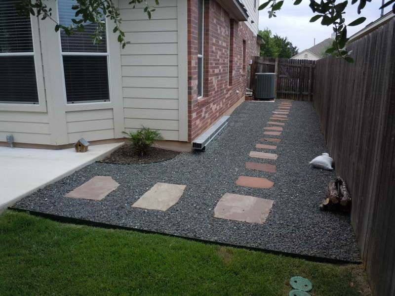 backyard landscaping with gravel