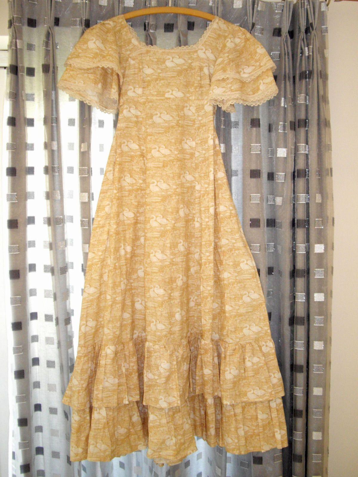 Laura Ashley Vintage 1970s Dress Swan Print Size 14 Ebay