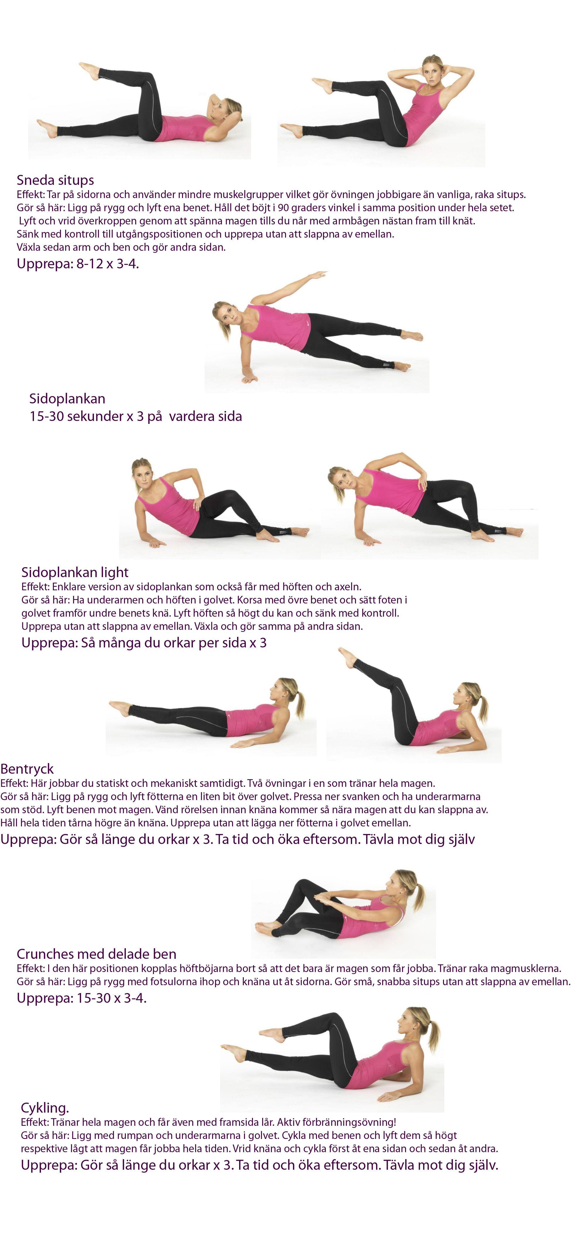 träna magen hemma övningar