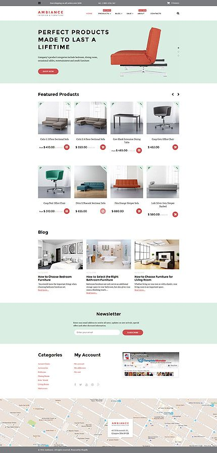 Interior Design Furniture Online Store Shopify Template Themes - Shopify design templates