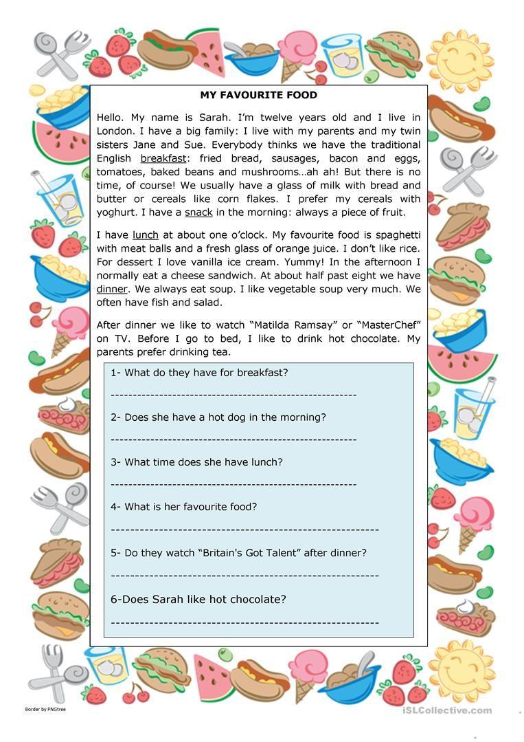 My Favourite Food Worksheet Free Esl Printable Worksheets Made By Teachers My Favorite Food Comprehension Worksheets Reading Comprehension Worksheets [ 1079 x 763 Pixel ]