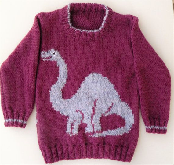 Sweater Jumper with Dinosaur Knitting Pattern by iKnitDesigns ...