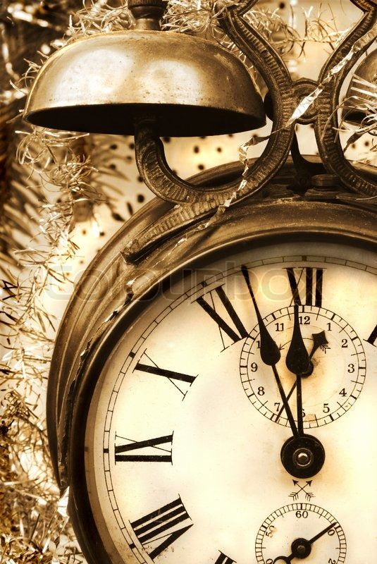 Vintage New Year With Antique Alarm Clock Stock Photo Vintage Alarm Clocks Vintage Clock Clock