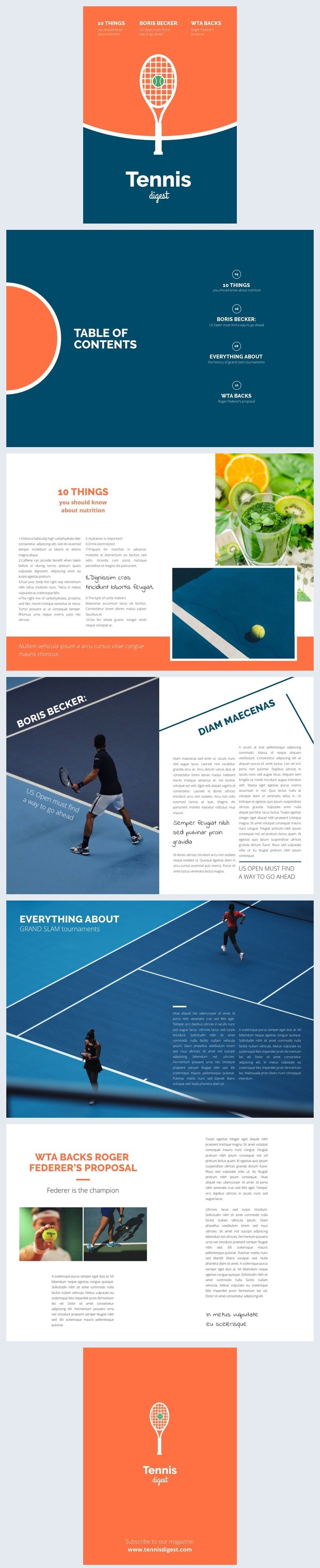 Tennis Magazine Layout Template In 2020 Magazine Layout Layout Template Magazine Template