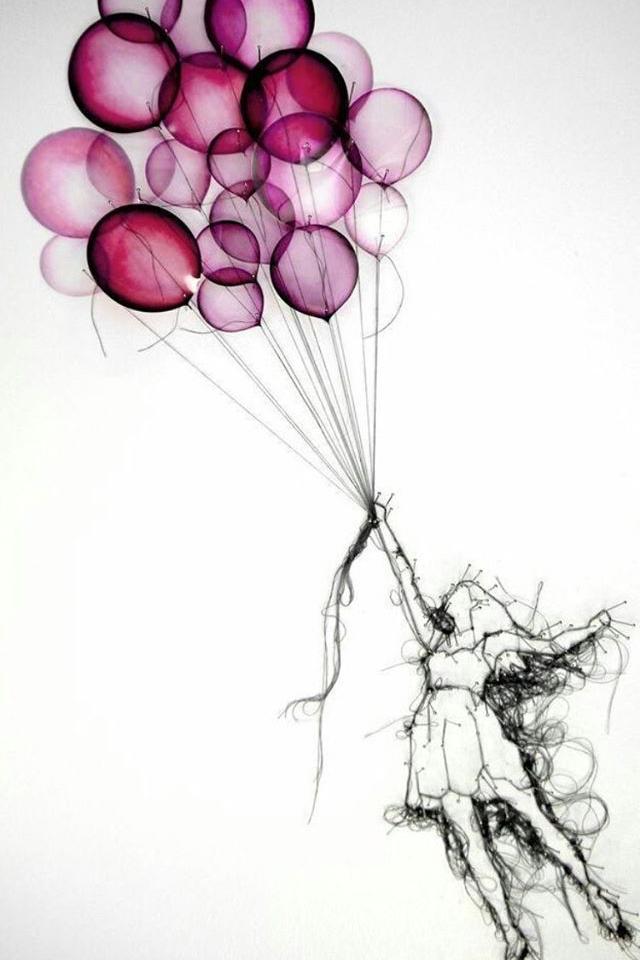Girl Pulled By Pinkish Balloons Balon Dovme Cizimler Cizim Fikirleri