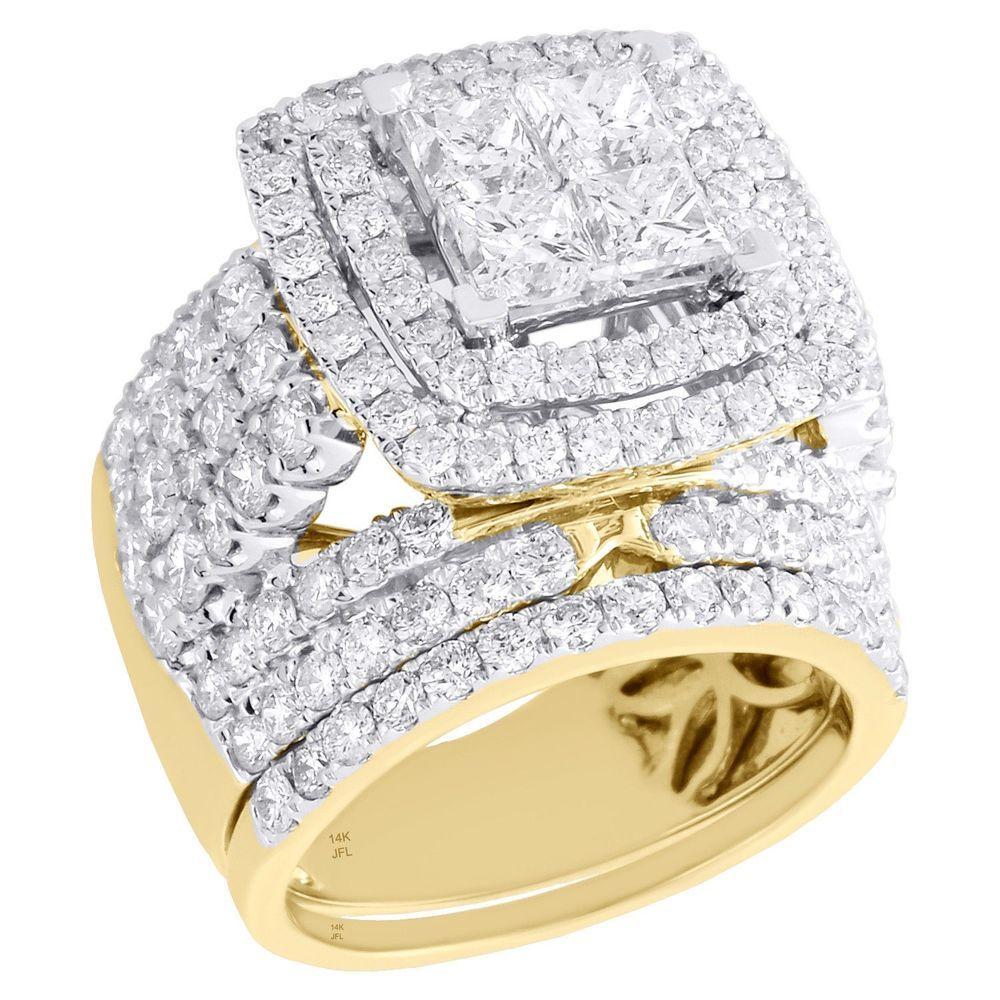 14k yellow gold quad diamond bridal set engagement ring