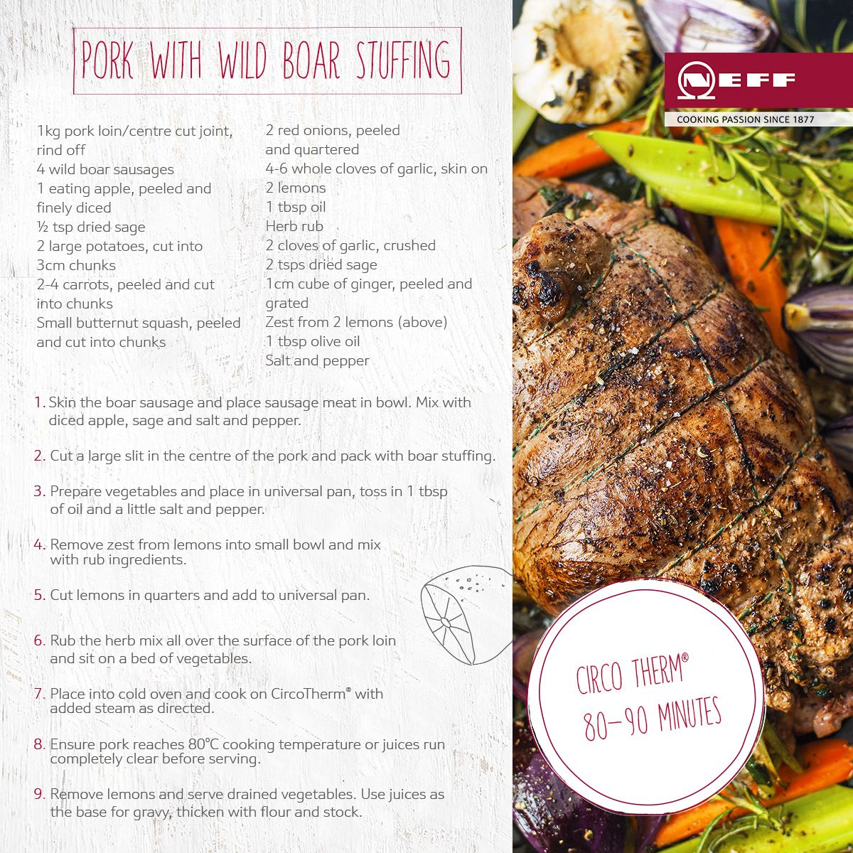 Ask your butcher for wild boar sausages and try our delicious recipe.