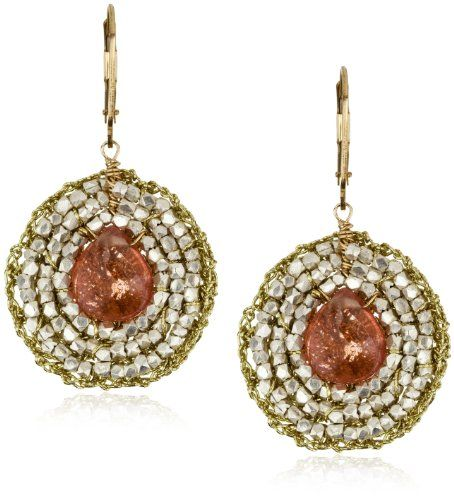 "Eva Hanusova ""Indian Summer"" Cherry Quartz Crochet Earrings"