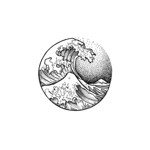 Great Wave Off Kanagawa - Circular Temporary Tattoo / Minimalist Tattoo / Wave Temporary Tattoo / Hipster Tattoo / Circle Tattoo / Hokusai