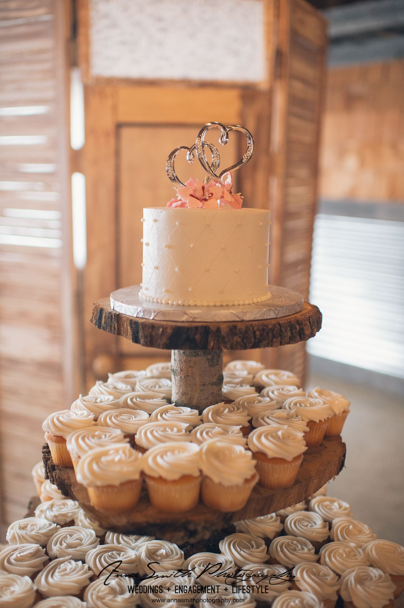Rustic Wedding Cupcake Tower With Wood Base Wedding Cupcakes