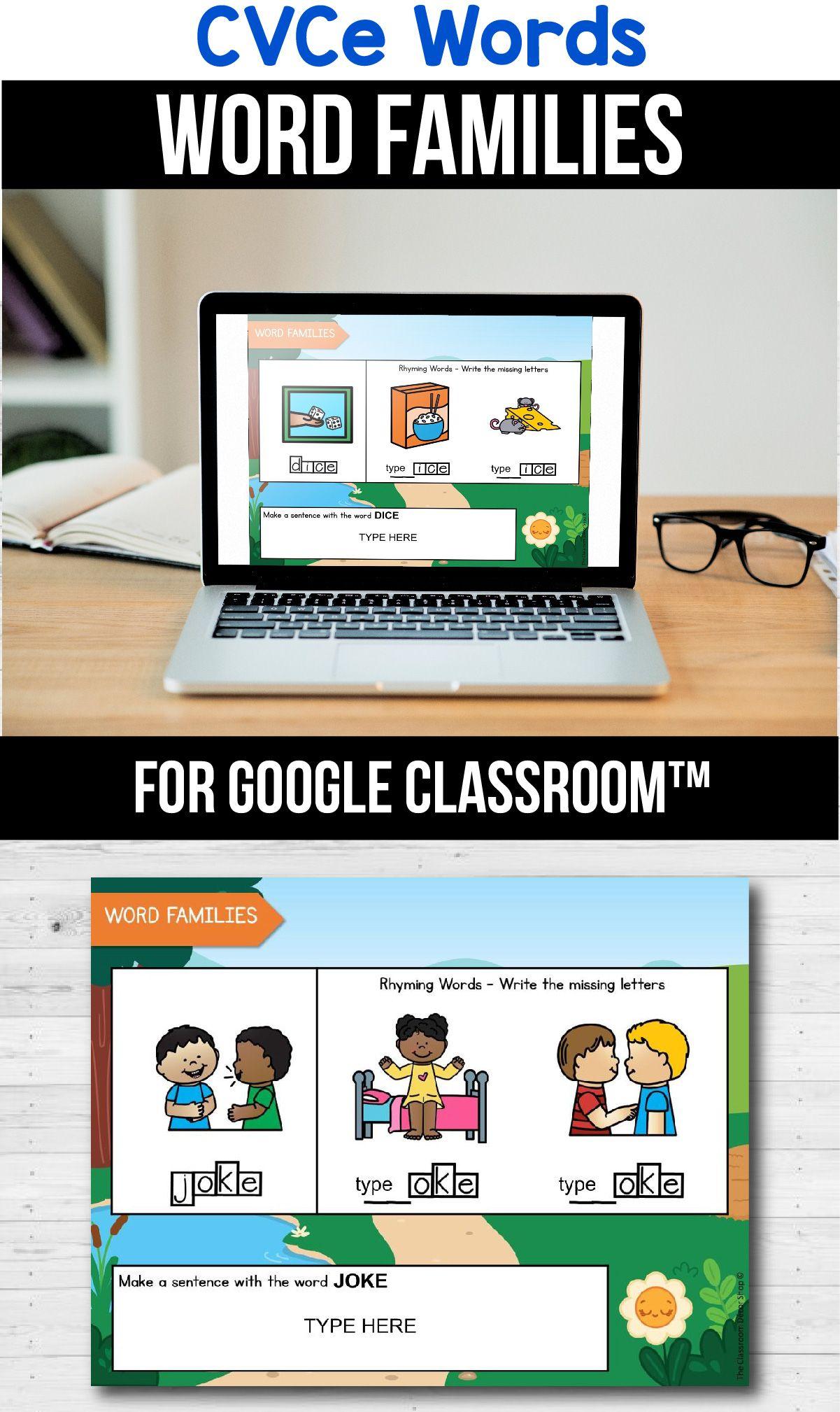 Classroom Cvce Word Families Kindergarten Distance