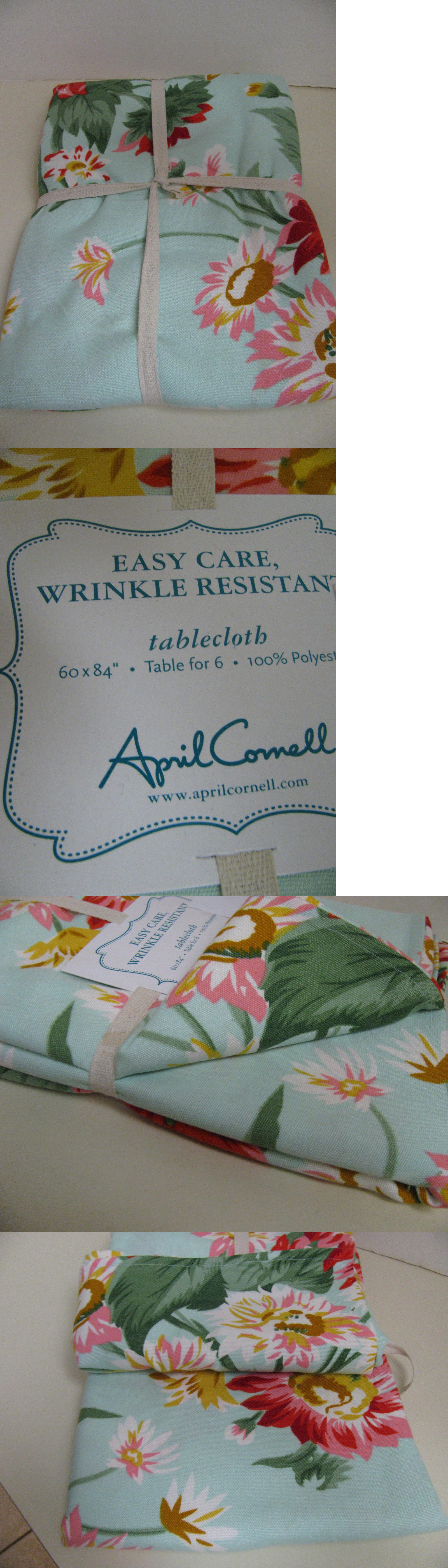 Tablecloths 20663: April Cornell Easy Care Tablecloth   60 X 84   Aqua  Green Floral
