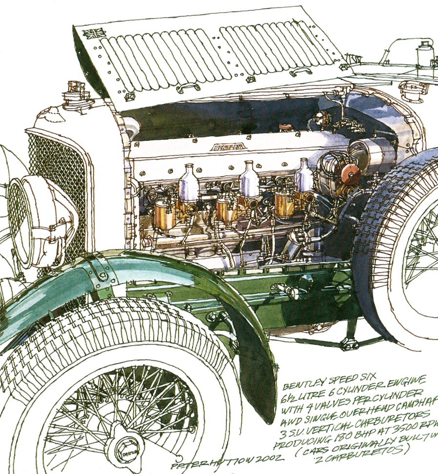 Bentley Speed Six- Freehand Drawing by Peter Hutton :: Illustrator