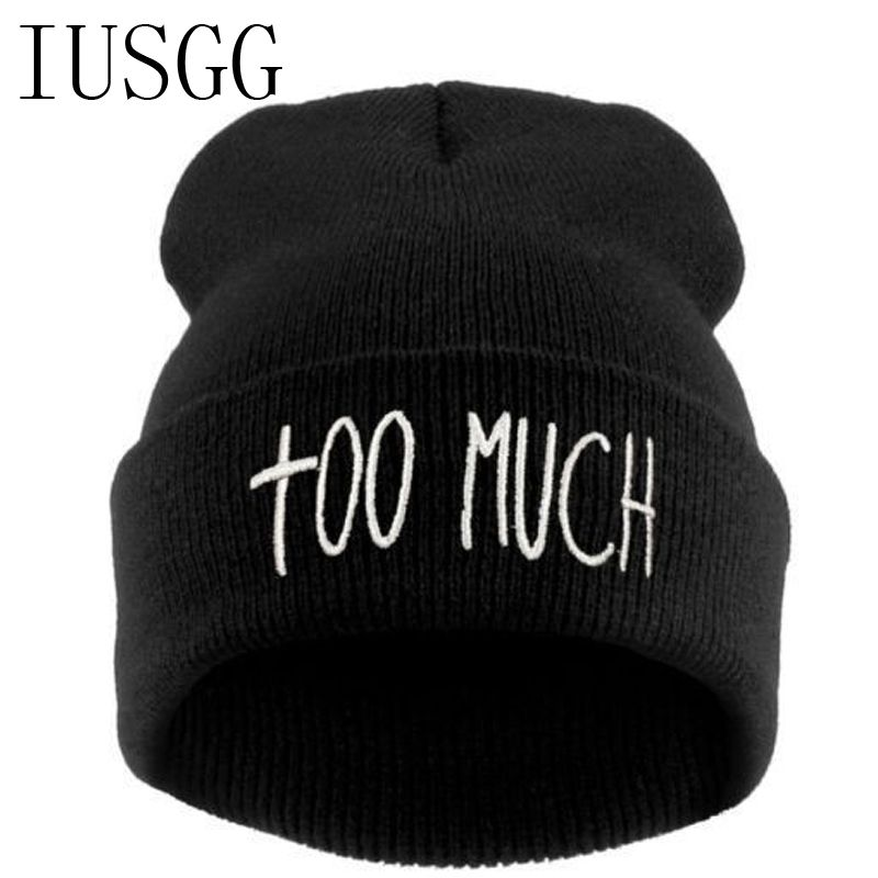 b048243f9871a Fashion Beanie Brand Letter Too Much Sport Winter Hat Hip-Hop Men Cap  Knitted Hats