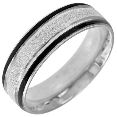 love this mens wedding band mens diamond cut stainless steel band with black ion plated stripes zales - Zales Mens Wedding Rings