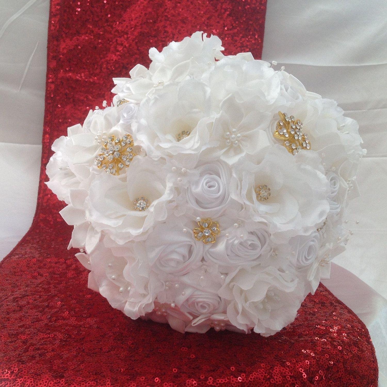 White Satin Ribbon Brooch Bouquet By Lastingmemoriesshop On Etsy
