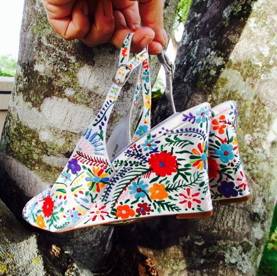Wedge Wedding Shoes Wedges White Painted Por Norakaren Zapatos Pinterest Mexican Pattern Shoe And