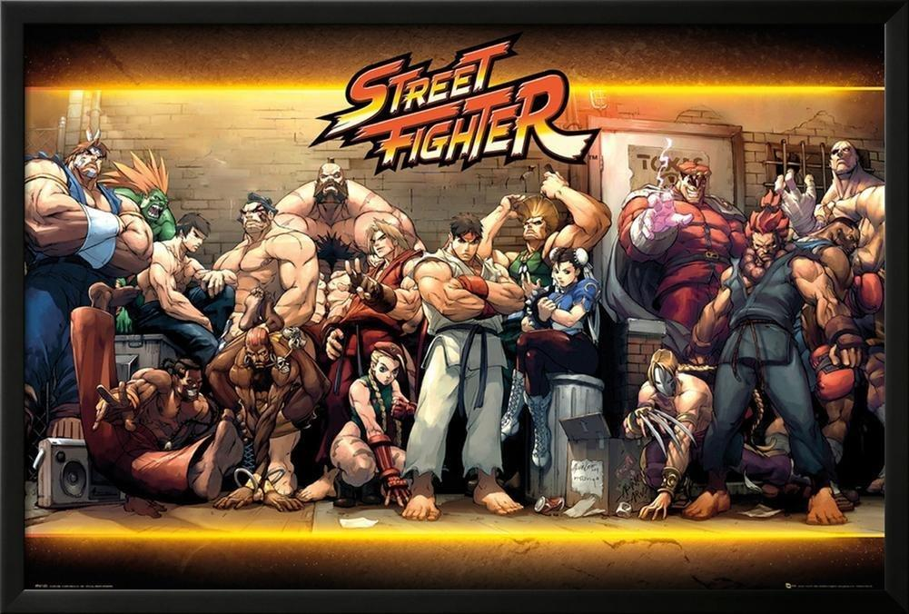 Street Fighter Characters Lamina Framed Poster 25 75 X 37 75in