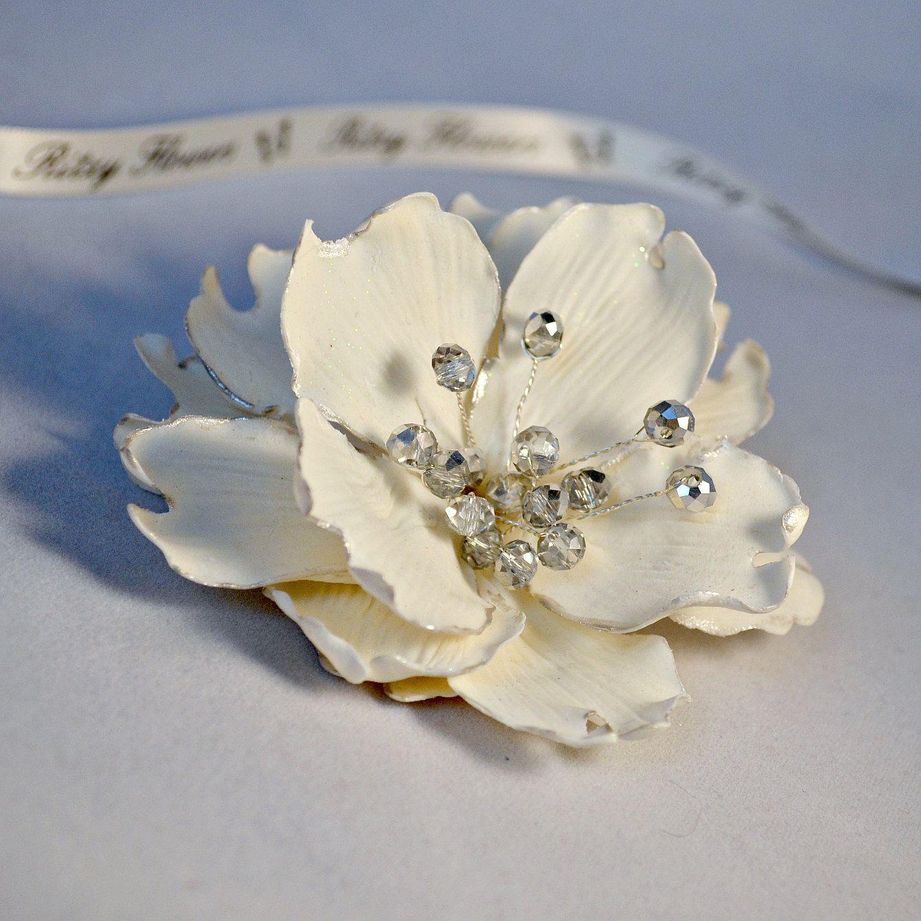 Trendy bridal headpiece - Wedding Hair Flower Bridal Headpiece Ceramic Peony Clip With Silver Crystals Classy Bride