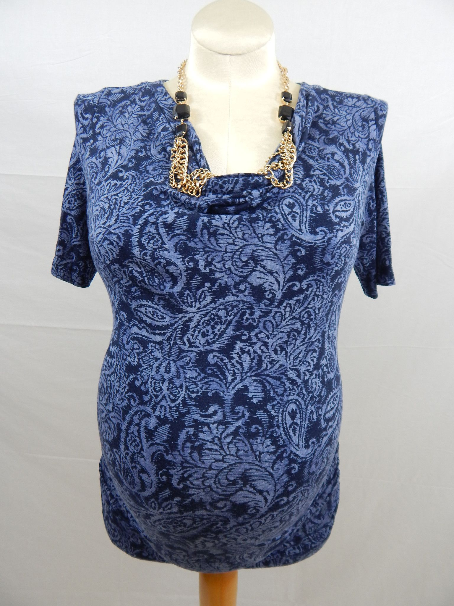 Navy 1/4 Sleeve Paisley Patterned Top-912