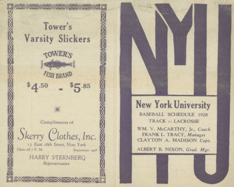 The NYU baseball schedule for 1928  | A Look Back at NYU
