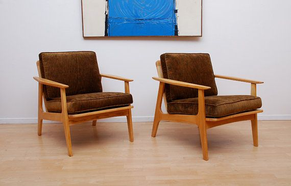 Mid Century Modern Japanese Lounge Chairs Blond Wood by