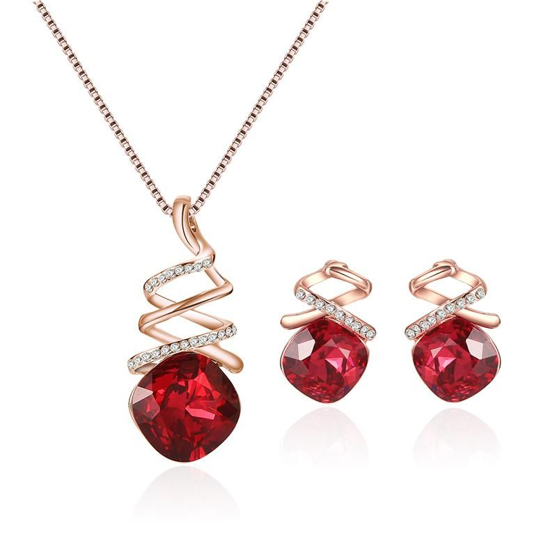 BangGood Eachine1 Fashion Red Crystal Jewelry Set Rose Gold Chain