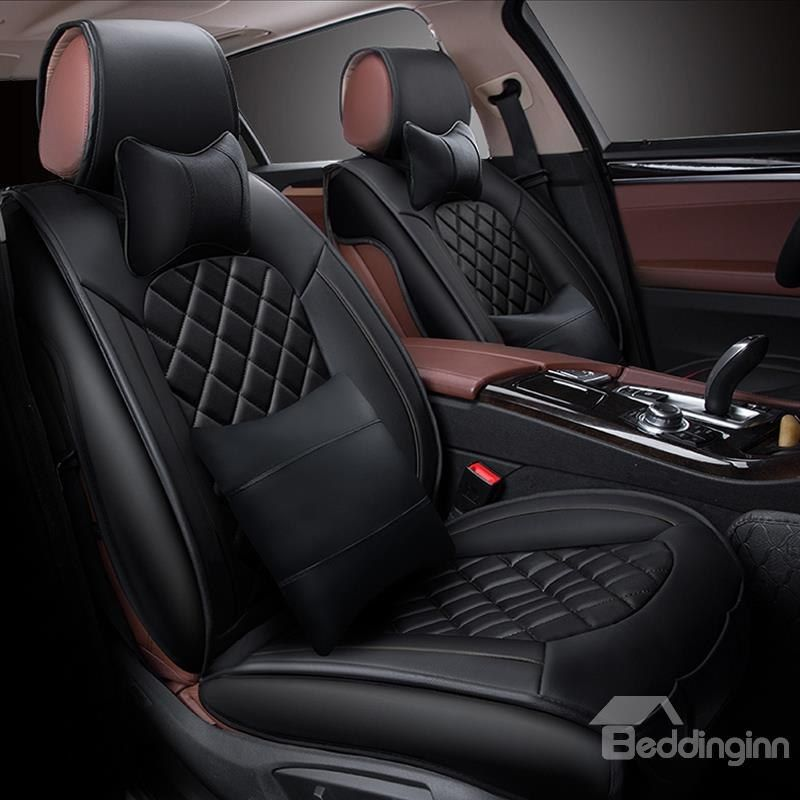 Fashion Grid Design Durable Easy Clean Pu Leather Universal Five Car Seat Cover Car Seats Carseat Cover Leather Car Seat Covers