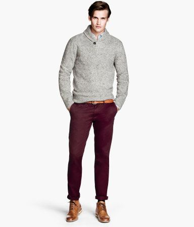 hot sale newest collection favorable price Slim washed twill chinos - H&M | Men's Fashion | Burgundy ...