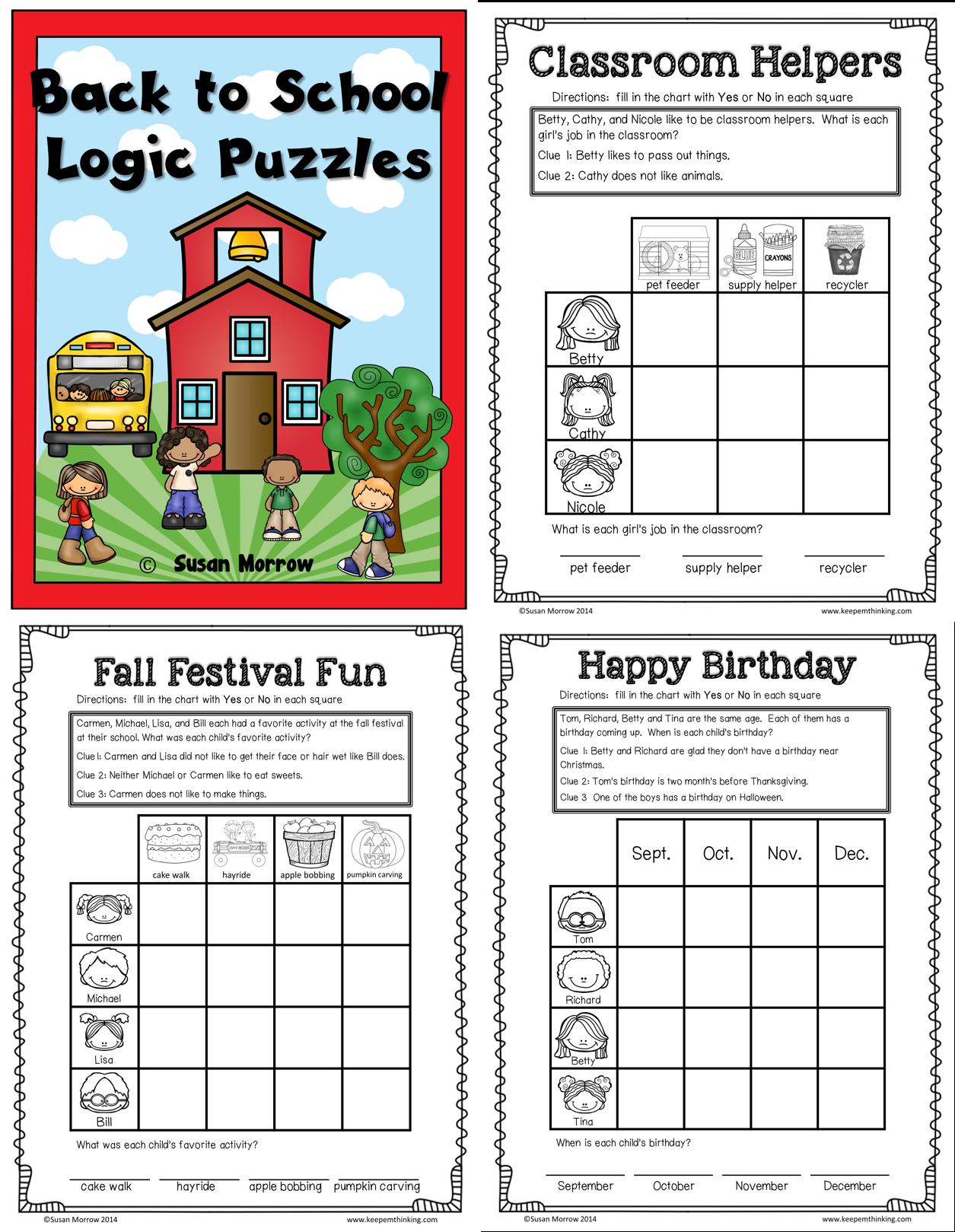 Fall Theme Logic Puzzles Gr 1 3